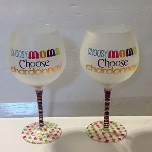 HAND PAINTED NOVELTY WINE GLASSES